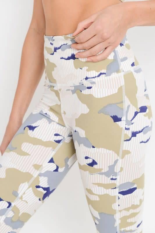 Highwaist Pastel Striped Camo Print Full Leggings -