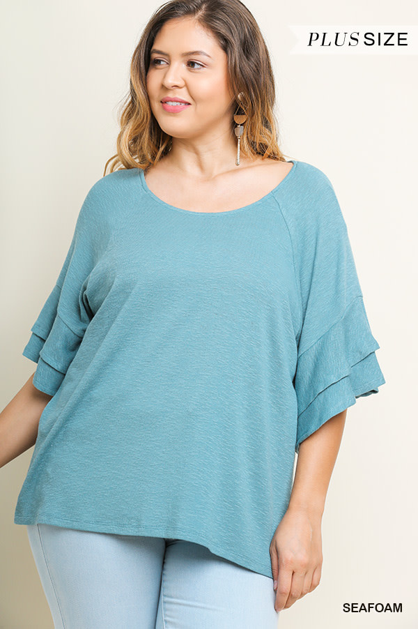 Family Picture Ruffle Sleeve Top -