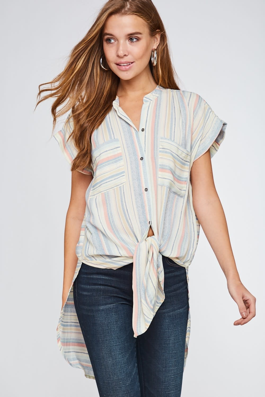 Love Those Stripes Waist Tie Top -