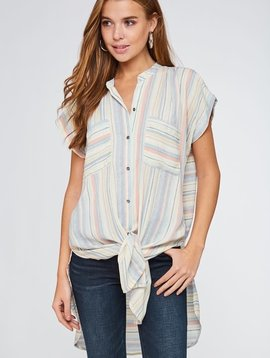 Love Those Stripes Waist Tie Top -