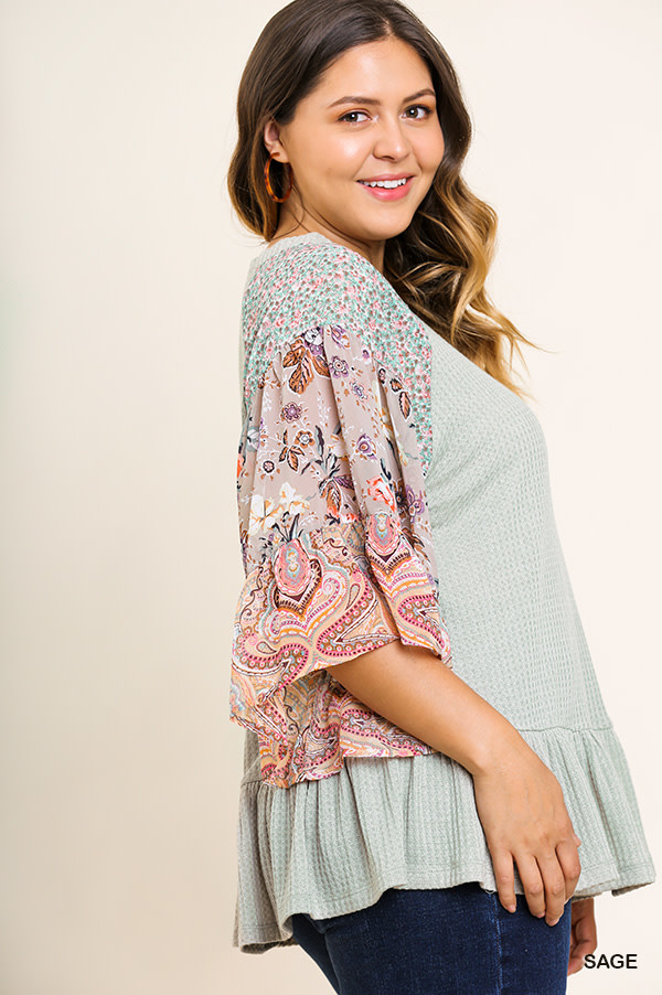 Lunch With Friends Paisley Waffle Knit Top -