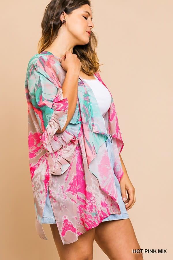 Monet Watercolor Print Kimono -