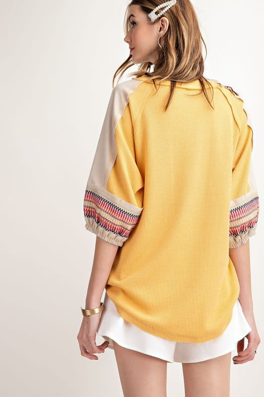 Picture Perfect Emb Sleeve Top -