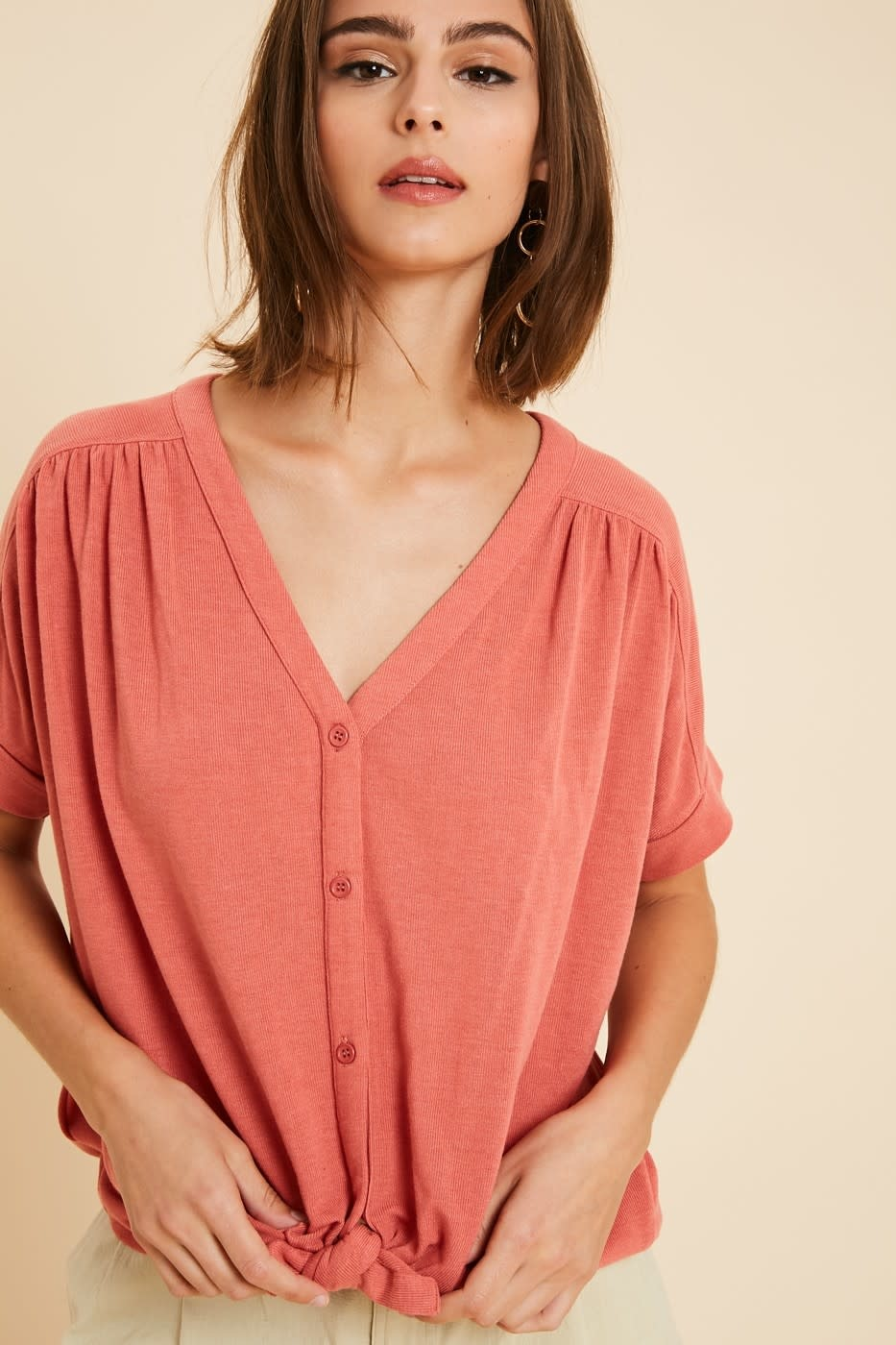 Easy Sunday Button Top -