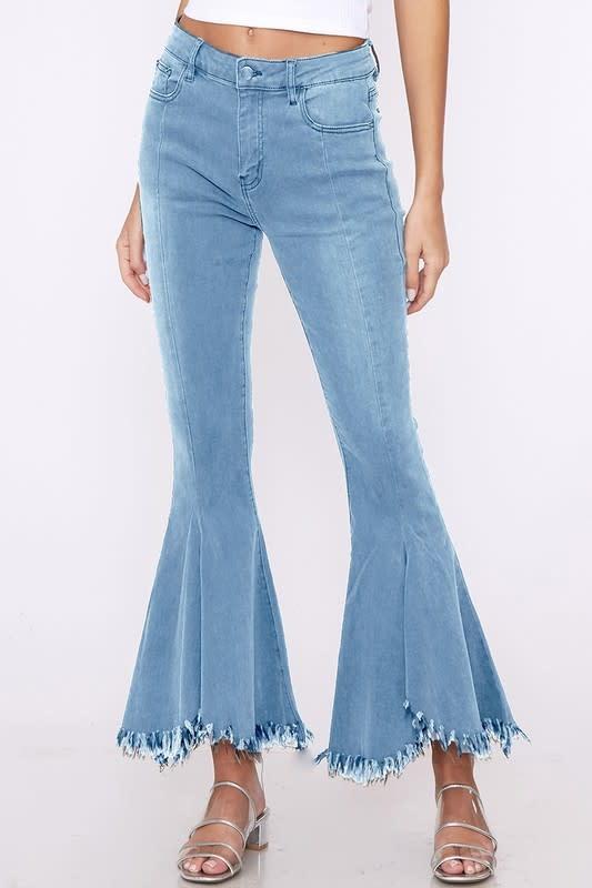 Zara Ultra Flare Frayed Ankle Hem Jeans -