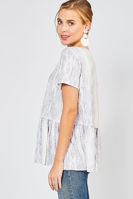 Let's Do Lunch Reptile Print Top -