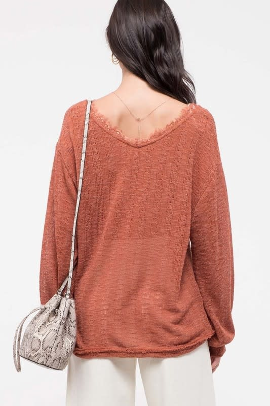 Movie Night V-Neck Lace Detail Top -