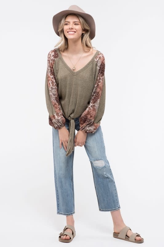 Fall Wildflowers Floral Front-Tie Top -