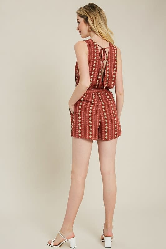 Right Angles Geo Print Romper -