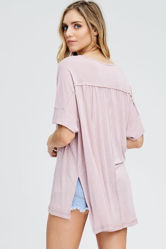 Walk By The River Half Button Detail Top -