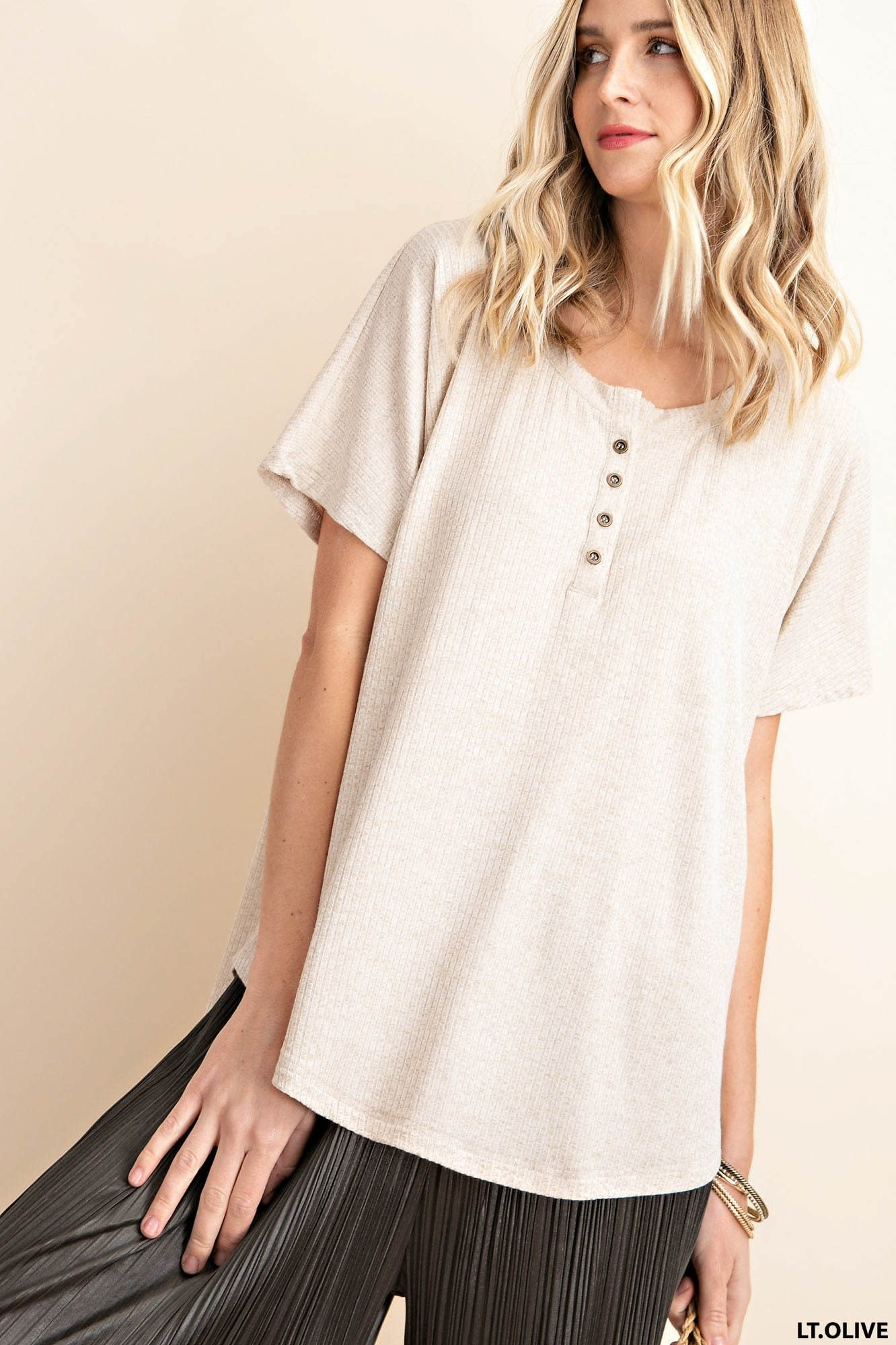 Back To School Ribbed Henley Tunic -
