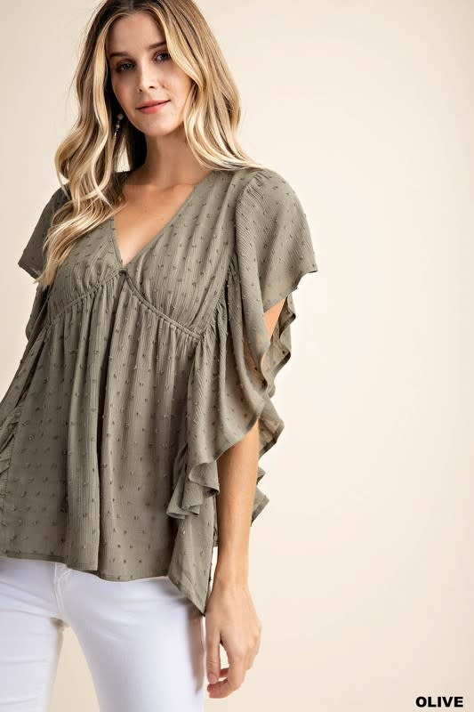 Ruffle Oh V-Neck Top -