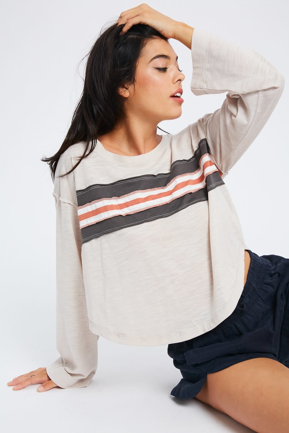 Open Road Raw Edge Detail Top -