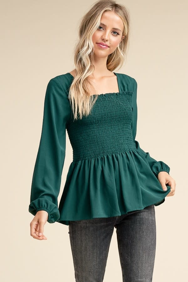 Fall Foliage Smocked Detail Top -