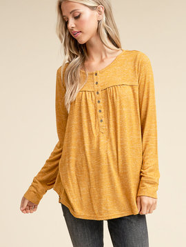 Turning Leaves Brushed Henley Top -