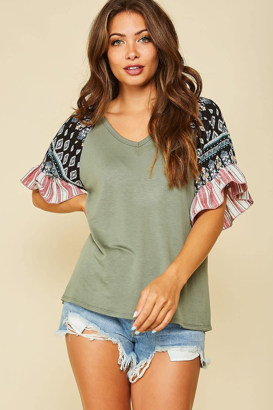 All Yours Contrast Sleeve Top -