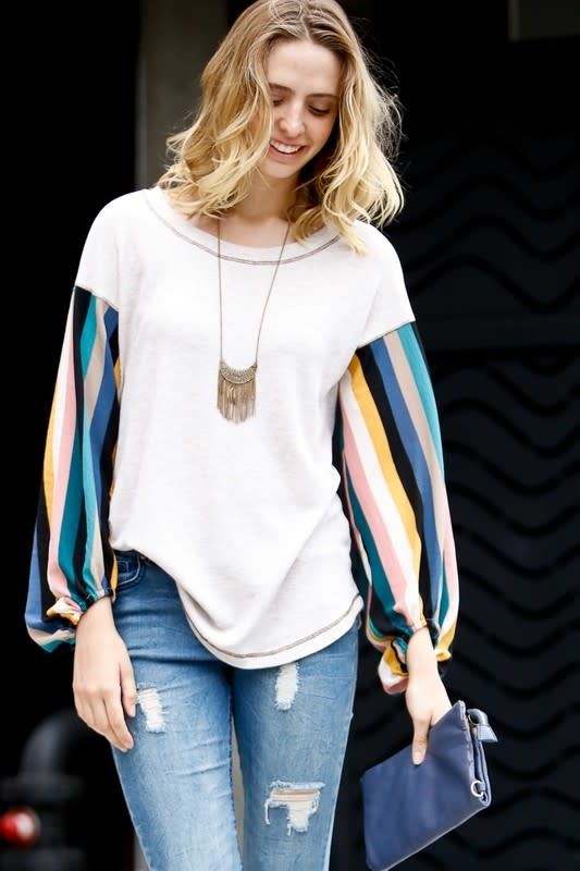 Ease Into Fall Striped Sleeve Top -