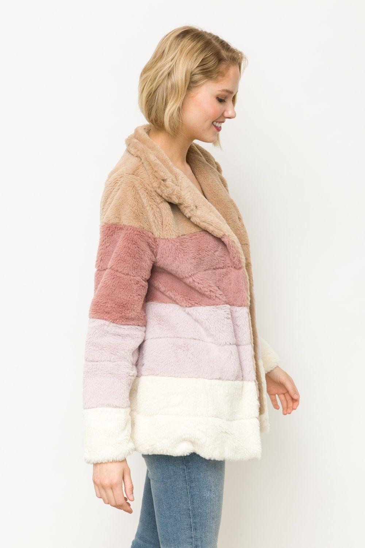 North Pole Worthy Color Block Fur Jacket -