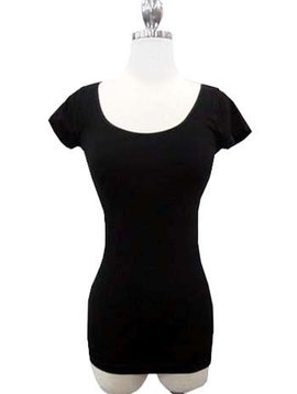 Scoop Neck Cap Sleeve Tee -