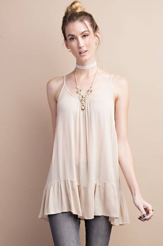 Ruffle Bottom Cami Tunic -