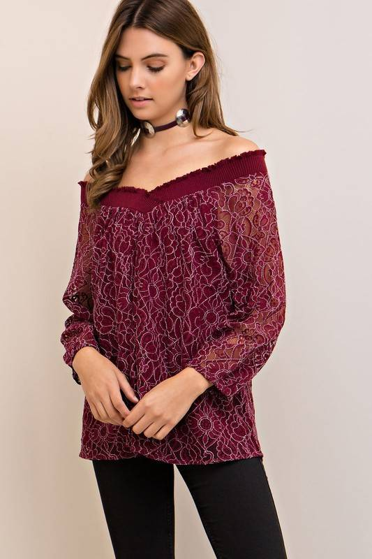 Lace V-Neck Top -