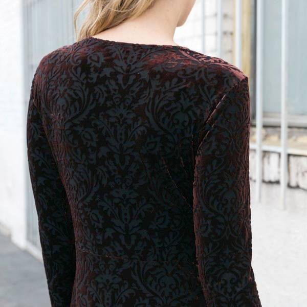 mystree mystree ruffle sleeve burnout dress burgundy