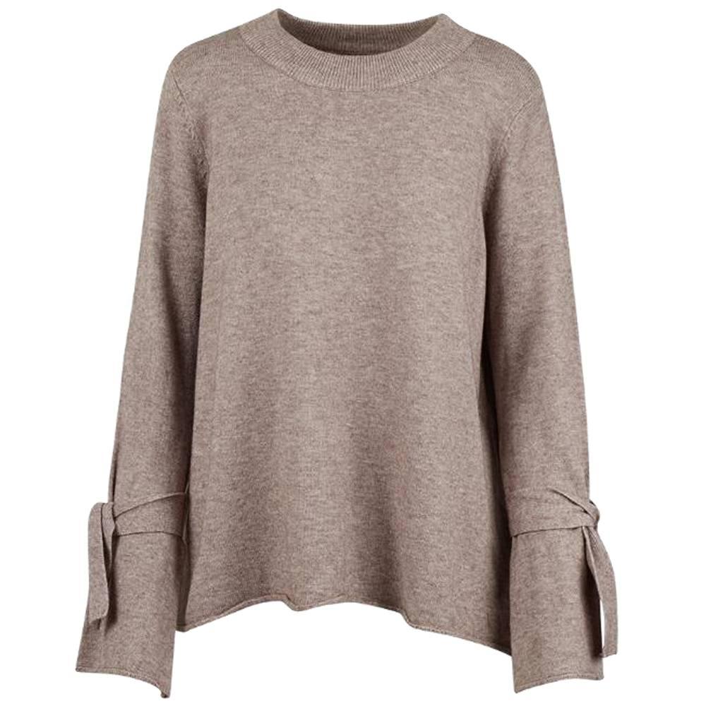 m italia m italia knitted bell sleeve sweater taupe