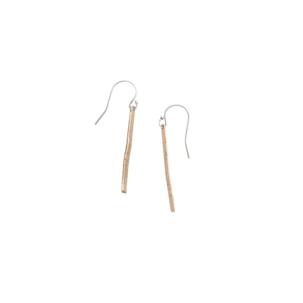 original hardware OH yellow bronze med stick earrings