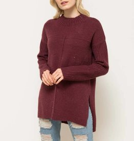 hem & thread hem & thread wine hi-lo sweater