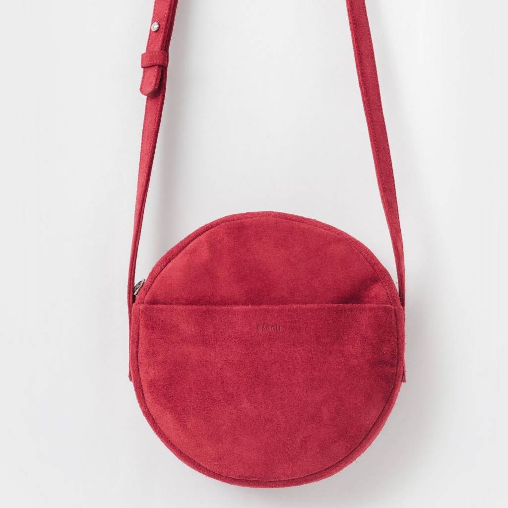 baggu baggu suede leather circle purse ruby