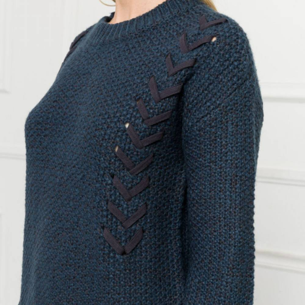 mystree mystree ribbon detail tunic sweater teal