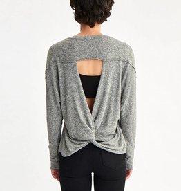 la made la made twist back sweater heather grey