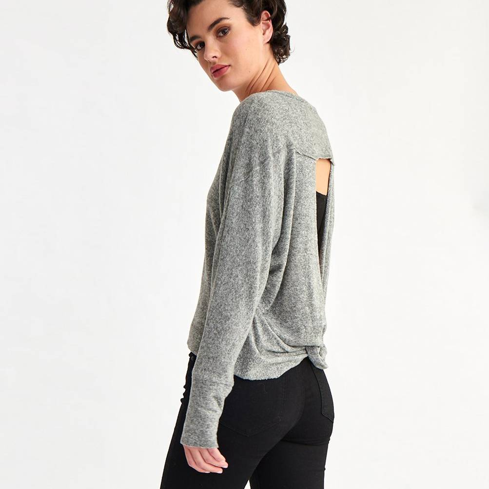 la made la made twist back sweater heather grey