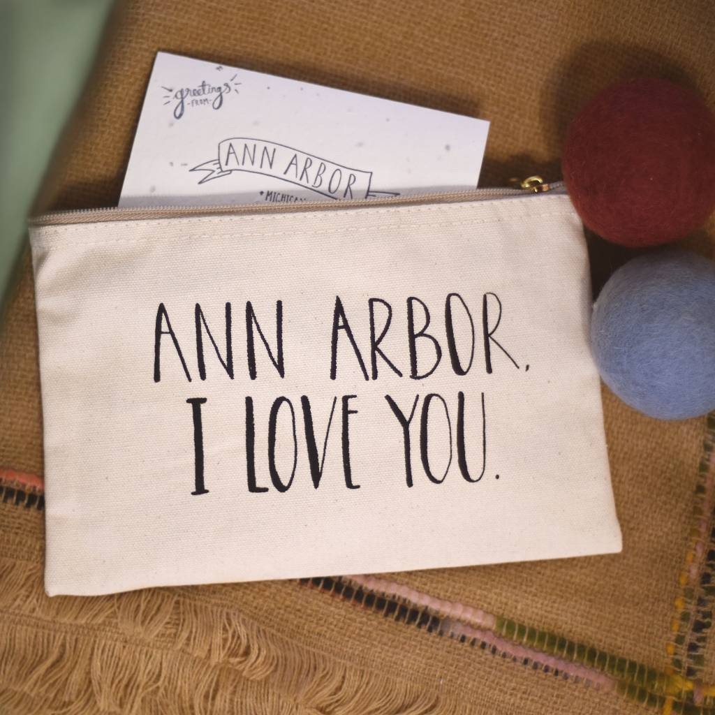 lovewild design lovewild design ann arbor I love you zippered pouch
