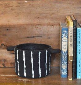 bidk home black vertical stripes papier mache pot