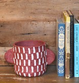 bidk home red vertical stripes papier mache pot