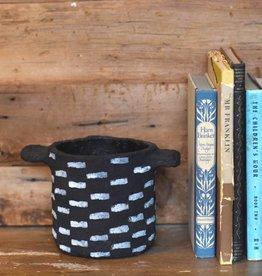 bidk home black horizontal stripes papier mache pot