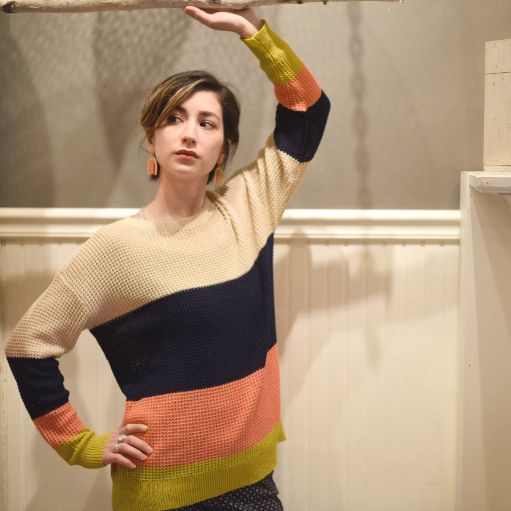hem & thread hem & thread color block pullover