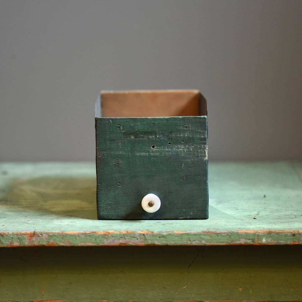 vintage finds rustic green metal drawer