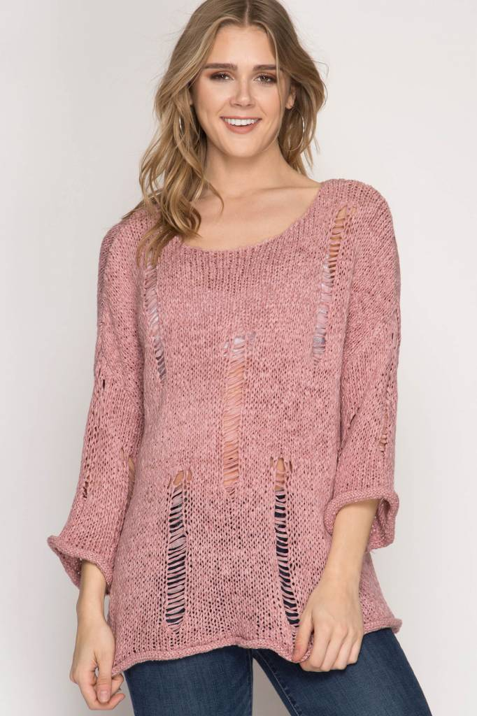 she + sky she + sky rose distressed sweater one size