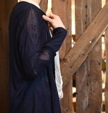skies are blue skies are blue navy crochet cardigan