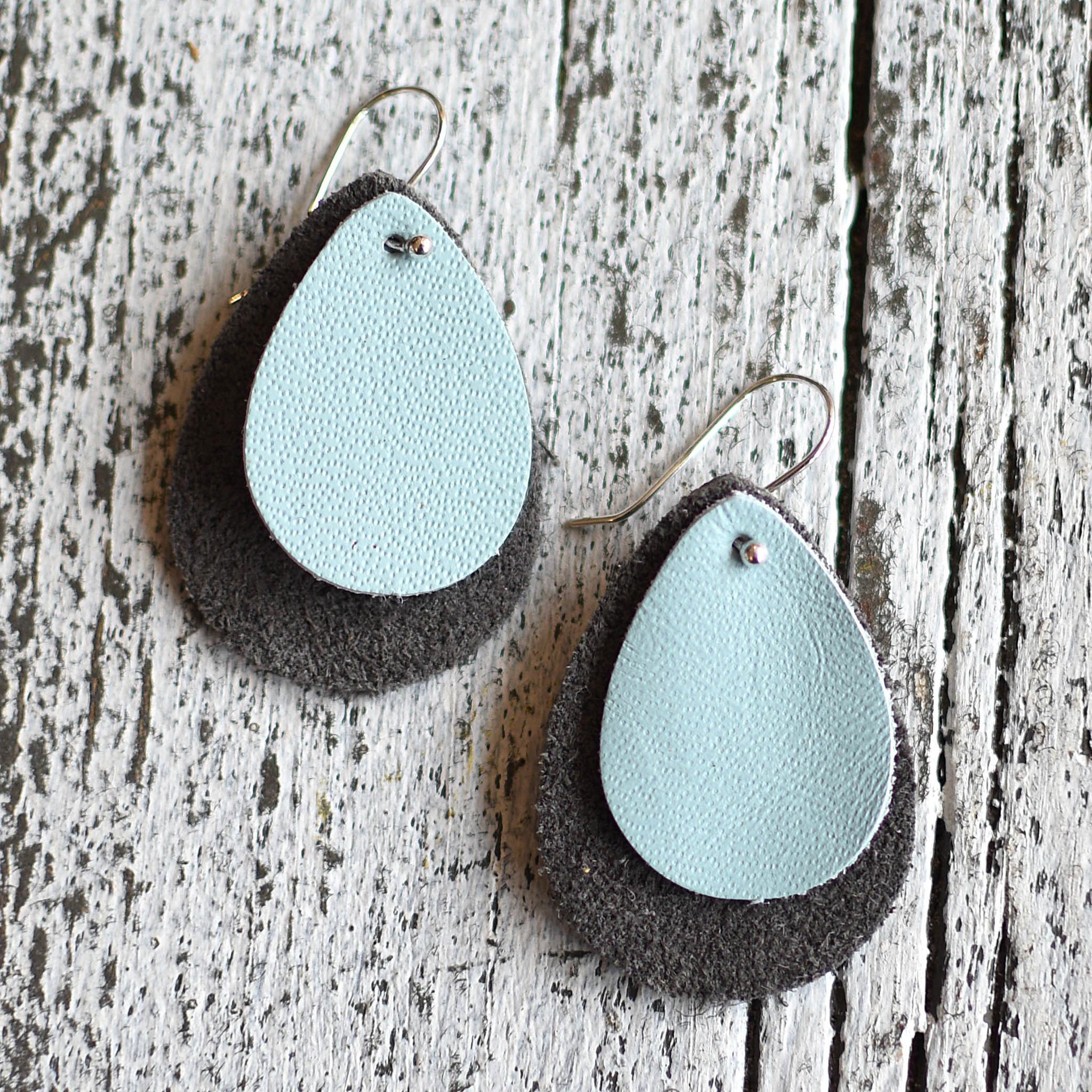 a spot of tee a spot of tee double teardrop leather earrings