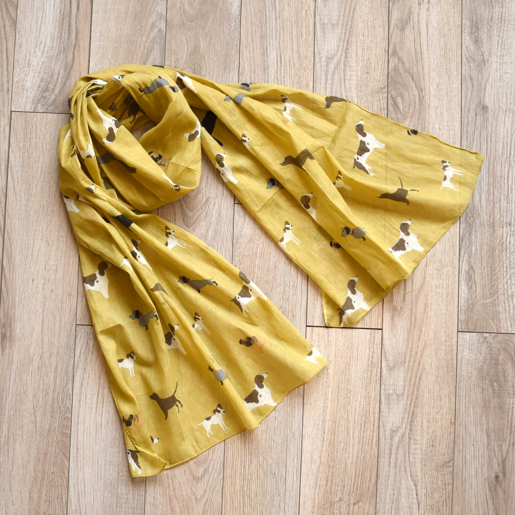 joy susan joy susan yellow dog print scarf