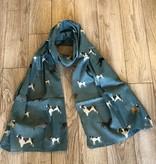 joy susan joy susan teal dog print scarf