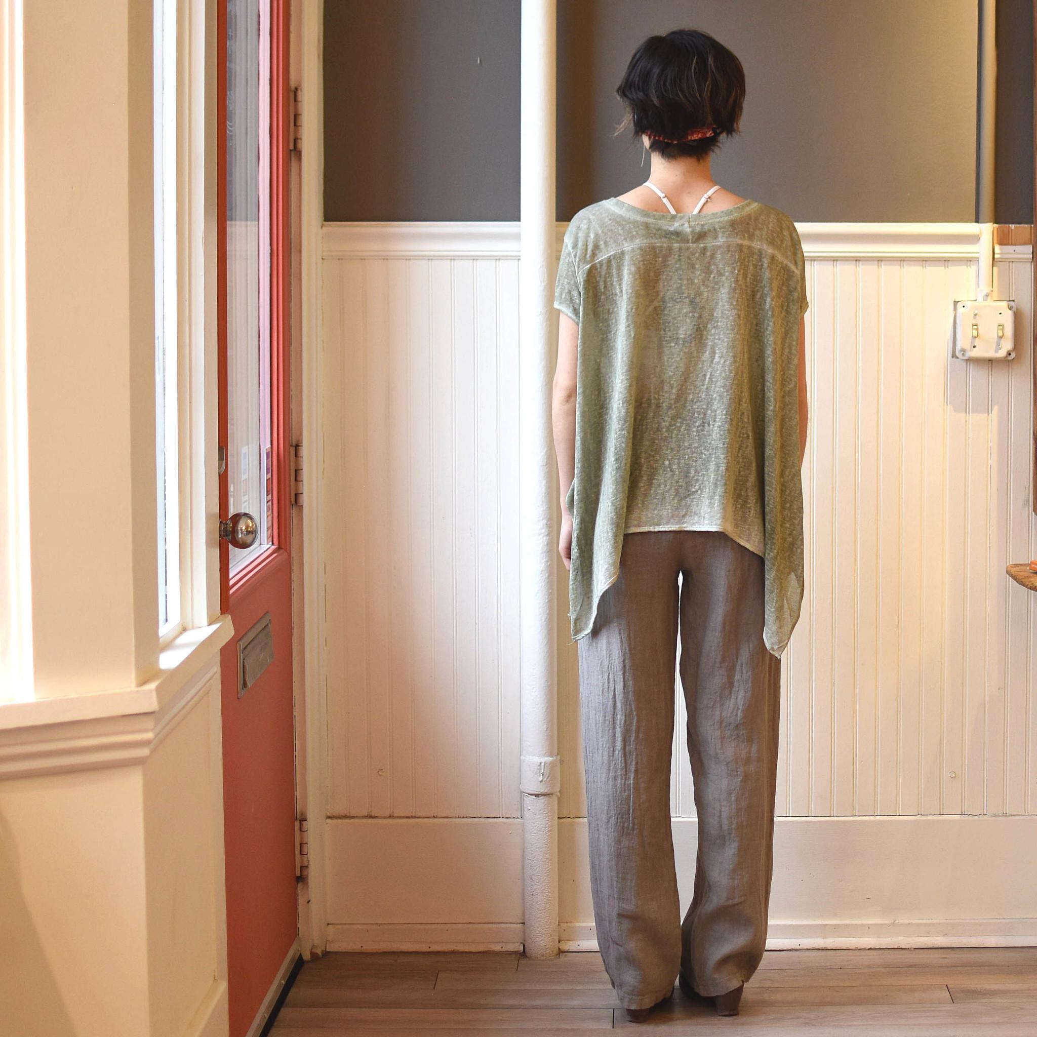 m italia m italia olive shortsleeve knit top
