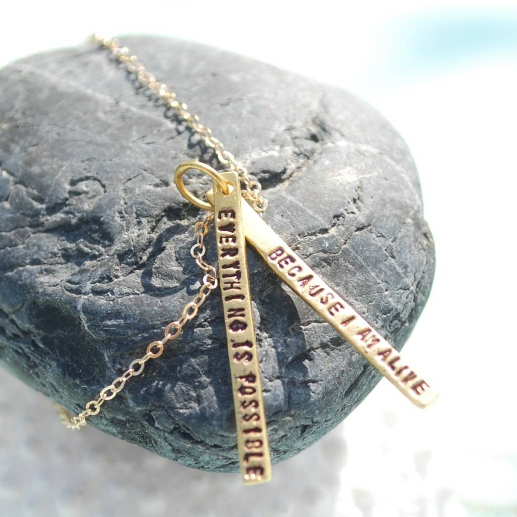 chocolate and steel chocolate and steel gold necklace with 2 short bars