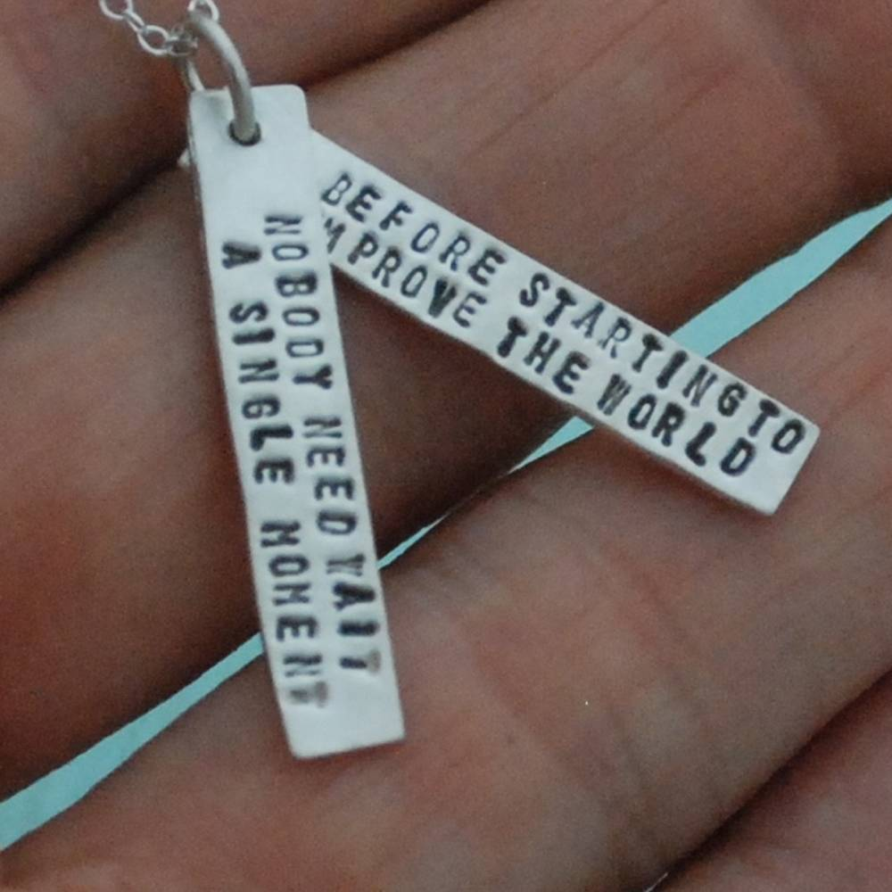chocolate and steel chocolate and steel silver quote necklace with 2 short bars