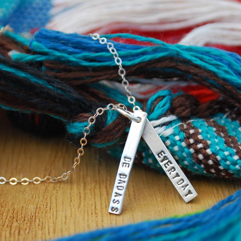chocolate and steel chocolate and steel silver quote necklace with 2 long bars
