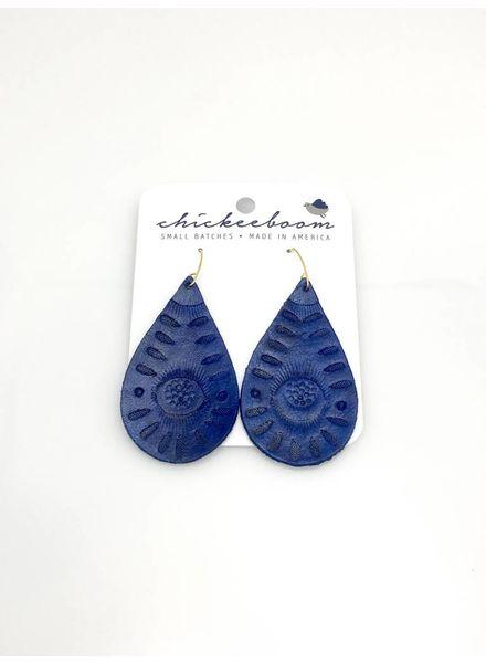Chickeeboom Chickeeboom Leather Petal Earring Navy