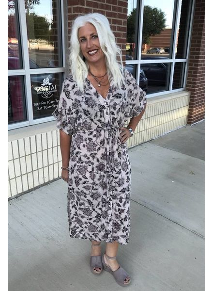 Others Follow Others Follow Shavonne Printed Dress Rose Taupe